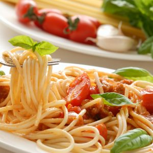 Fork with pasta and basil